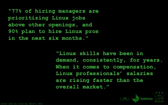 "- # # # - |_|0|_| |_|0|0| |0|0|0| |_84_| ""77% of hiring managers are prioritizing Linux jobs above other openings, and 90%..."