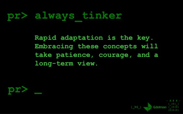 - # # # - |_|0|_| |_|0|0| |0|0|0| |_96_| pr> always_tinker Rapid adaptation is the key. Embracing these concepts will take...