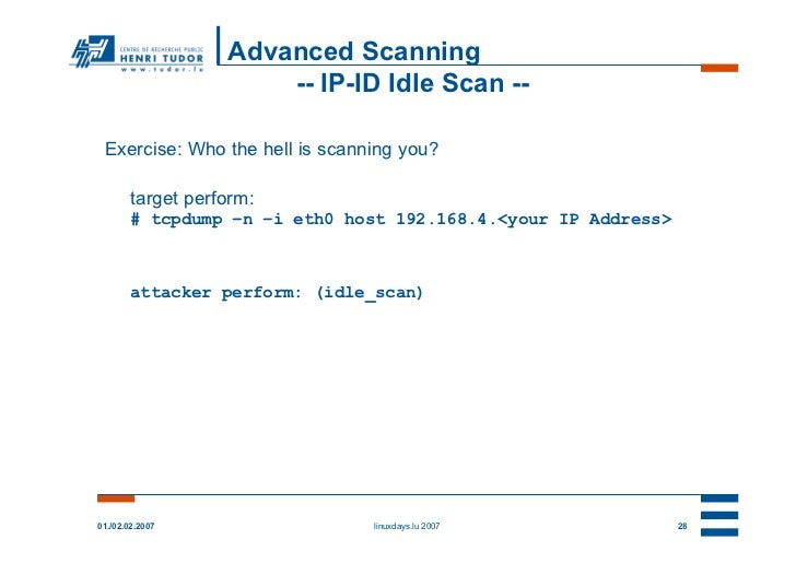 Advanced Scanning                       -- IP-ID Idle Scan -- Exercise: Who the hell is scanning you?        target perfor...