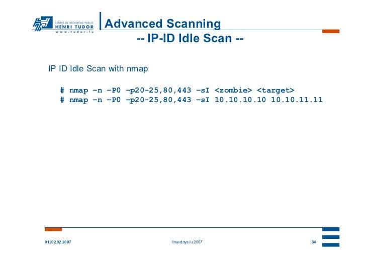 Advanced Scanning                     -- IP-ID Idle Scan -- IP ID Idle Scan with nmap        # nmap –n –P0 –p20-25,80,443 ...