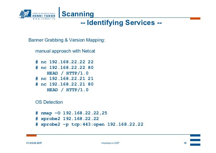 Scanning                       -- Identifying Services -- Banner Grabbing & Version Mapping:        manual approach with N...