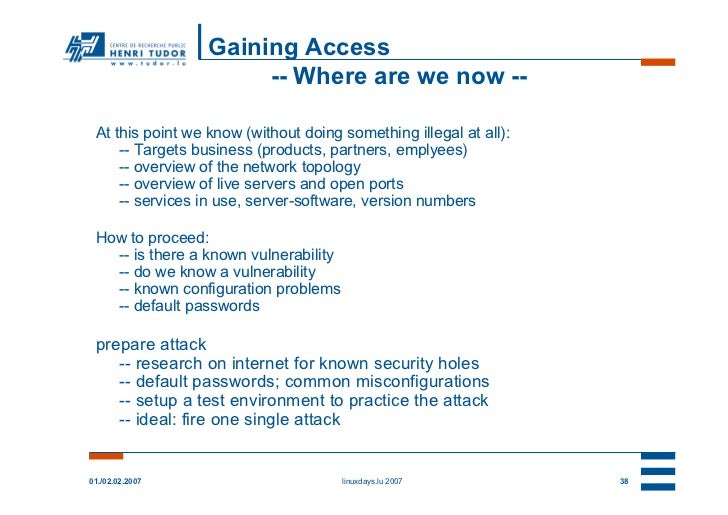 Gaining Access                       -- Where are we now -- At this point we know (without doing something illegal at all)...