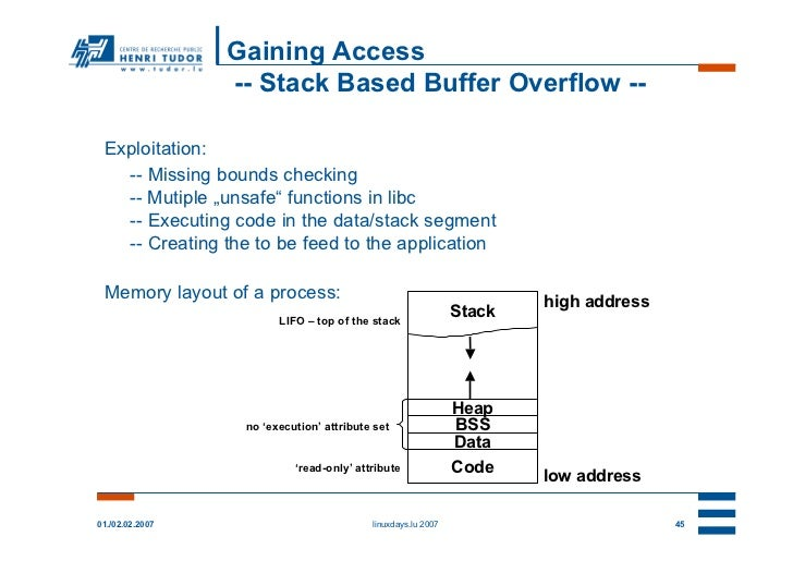 """Gaining Access                 -- Stack Based Buffer Overflow -- Exploitation:   -- Missing bounds checking   -- Mutiple """"..."""