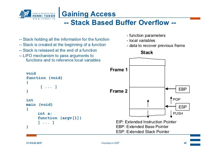 Gaining Access                         -- Stack Based Buffer Overflow --                                                  ...