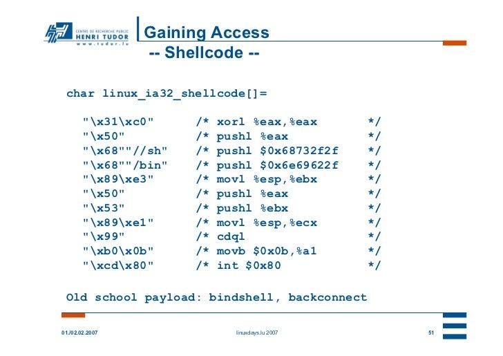 "Gaining Access                 -- Shellcode -- char linux_ia32_shellcode[]=        ""x31xc0""     /*   xorl %eax,%eax       ..."
