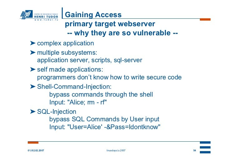Gaining Access                 primary target webserver                 -- why they are so vulnerable -- ➤ complex applica...