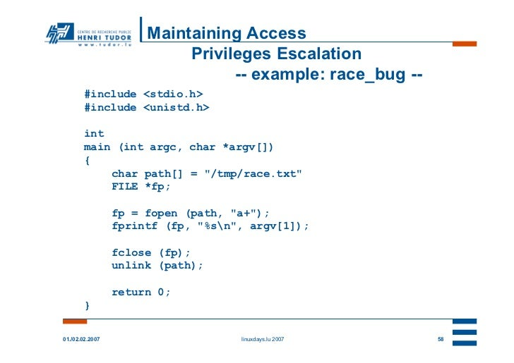 Maintaining Access                           Privileges Escalation                                 -- example: race_bug --...