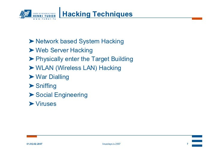 Hacking Techniques ➤ Network based System Hacking ➤ Web Server Hacking ➤ Physically enter the Target Building ➤ WLAN (Wire...