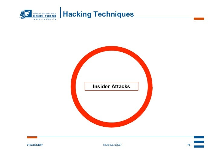 Hacking Techniques                        Insider Attacks01./02.02.2007              linuxdays.lu 2007   78