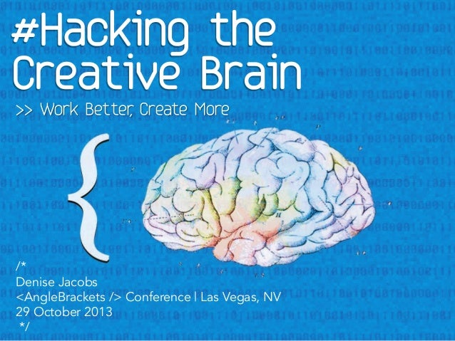 >> Work Better Create More ,  /* Denise Jacobs <AngleBrackets /> Conference | Las Vegas, NV 29 October 2013 */