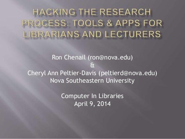 Ron Chenail (ron@nova.edu)  &  Cheryl Ann Peltier-Davis (peltierd@nova.edu)  Nova Southeastern University  Computer In Lib...