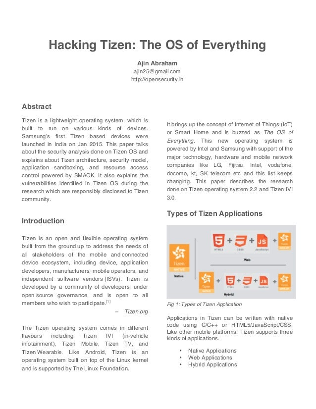 Hacking Tizen: The OS of everything - Whitepaper