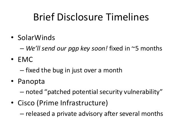Solutions • Don't mix demos and trials – This leads to bad security assumptions • Don't ship the master development VM – S...