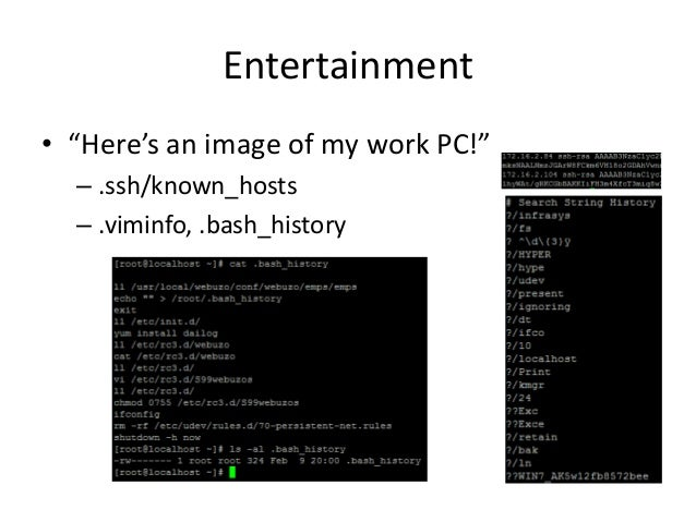 """Entertainment • """"Here's an image of my work PC!"""" – .ssh/known_hosts – .viminfo, .bash_history"""