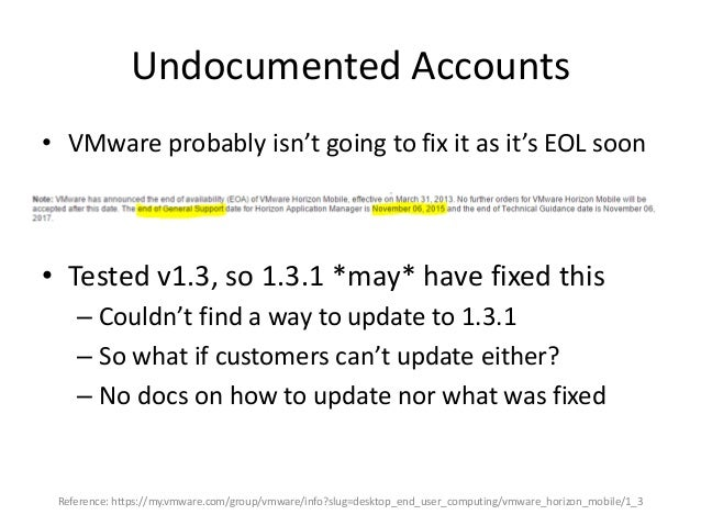 Undocumented Accounts • Two user accounts on this appliance – root – oracle (!?) • Upon install, root's password is set by...