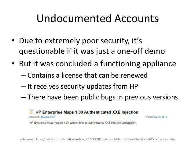 Silent Patches • Found an undocumented account • $ ssh cmcdr@sevone – Password: [cmcdr] • [cmcdr@SevOne:/] [S1V: 5.3.6.0] ...