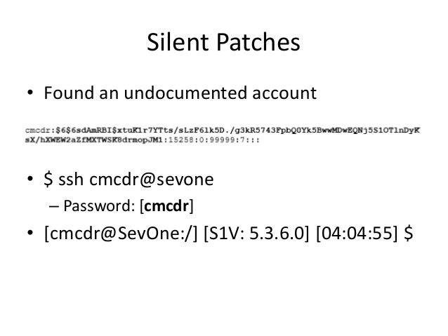 Silent Patches • See cache