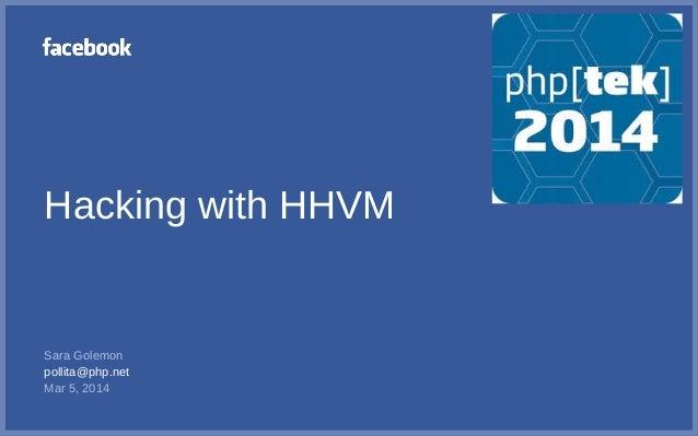 Hacking with HHVM Sara Golemon pollita@php.net Mar 5, 2014