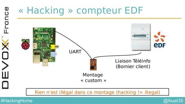 @lhuet35#HackingHome Protocole Teleinfo •Liaison série 1200 7E1 • http://www.erdf.fr/medias/DTR_Racc_Comptage/ERDF-NOI-CPT...