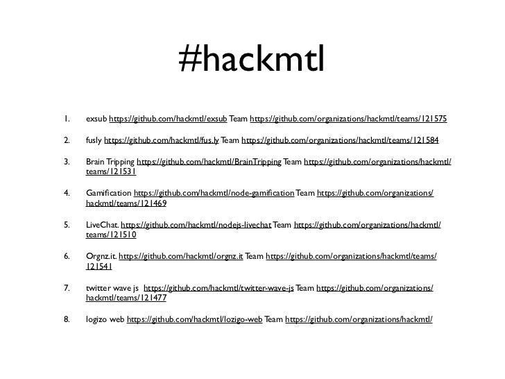 #hackmtl1.   exsub https://github.com/hackmtl/exsub Team https://github.com/organizations/hackmtl/teams/1215752.   fusly h...