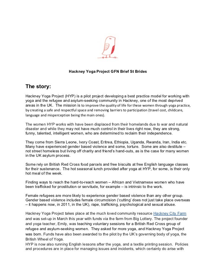 Hackney Yoga Project GFN Brief St BridesThe story:Hackney Yoga Project (HYP) is a pilot project developing a best practice...