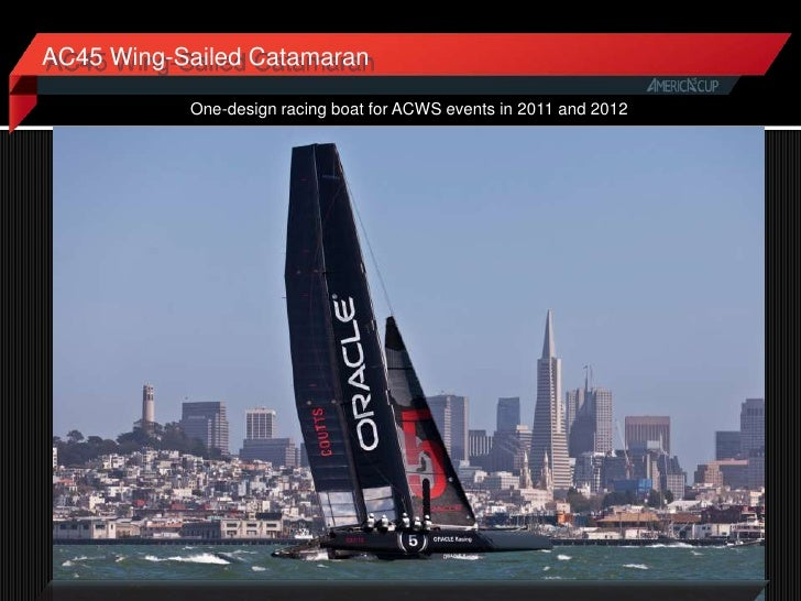 AC45 Wing-Sailed Catamaran           One-design racing boat for ACWS events in 2011 and 2012