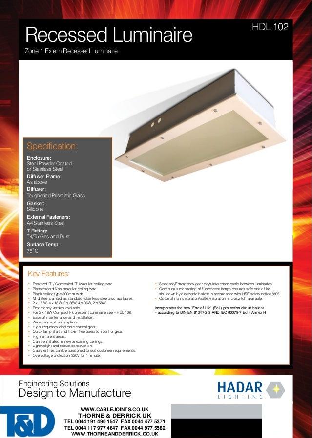 hadar hazardous area lighting hdl102 recessed zone 1