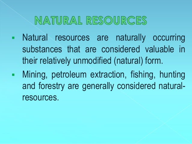 Is Food Considered A Natural Resource