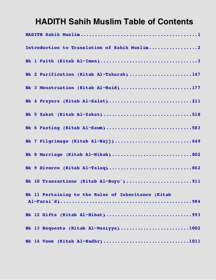 HADITH Sahih Muslim Table of ContentsHADITH Sahih Muslim                  ..........................................1Intro...