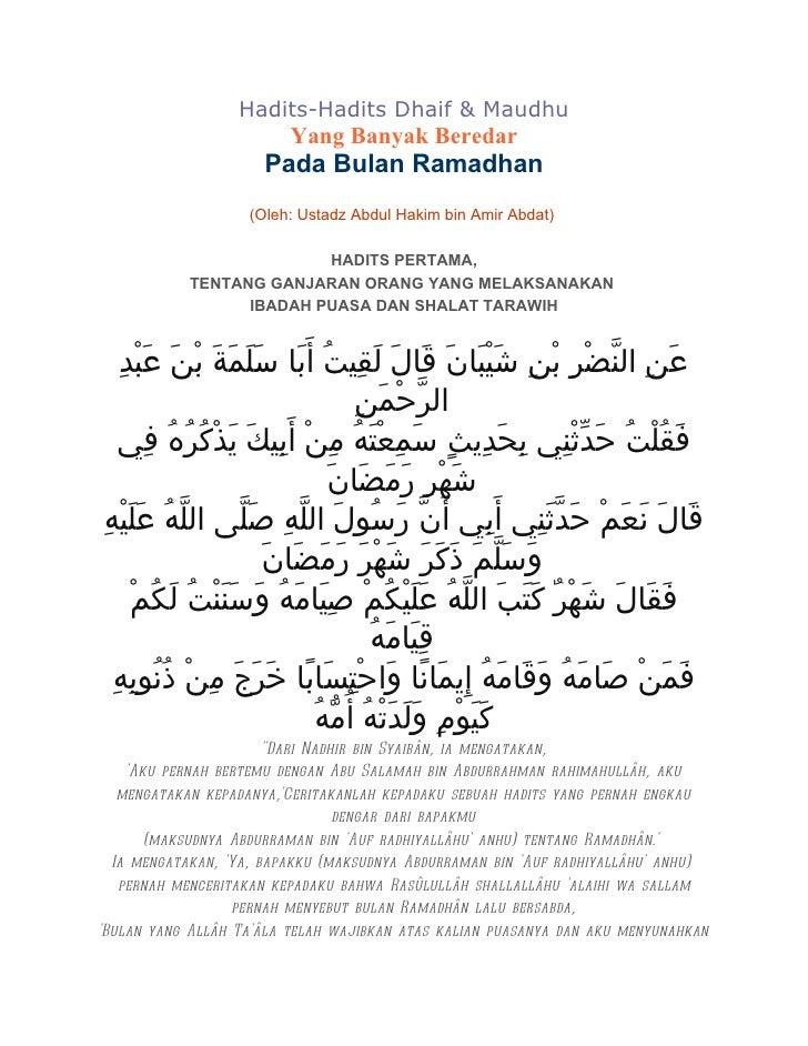 Contoh Hadits Dhaif Mursal 13