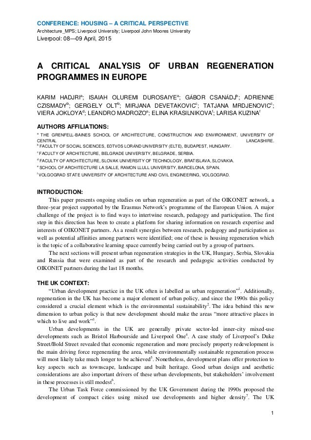 a critical analysis of urban regeneration programmes in europe