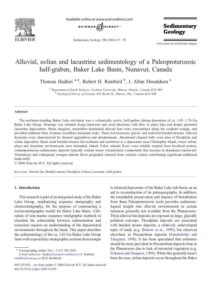 Sedimentary Geology 190 (2006) 47 – 70                                                                                    ...