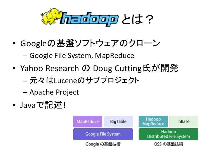 とは? • Googleの基盤ソフトウェアのクローン   – Google File System, MapReduce • Yahoo Research の Doug Cutting氏が開発   – 元々はLuceneのサブプロジェクト   ...