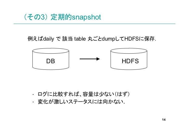 (その3) 定期的snapshot例えばdaily で 該当 table 丸ごとdumpしてHDFSに保存.     DB                    HDFS • ログに比較すれば、容量は少ない(はず) • 変化が激しいステータスに...