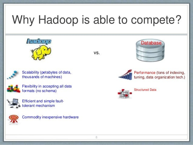 Why Hadoop is able to compete? 8 Scalability (petabytes of data, thousands of machines) Database vs. Flexibility in accept...