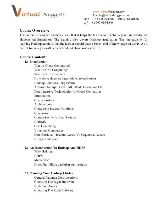 www.VirtualNuggets.comTraining@VirtualNuggets.comIndia +91-8885560202 ; +91-40-64540202USA +1-707-666-8949Course Overview:...