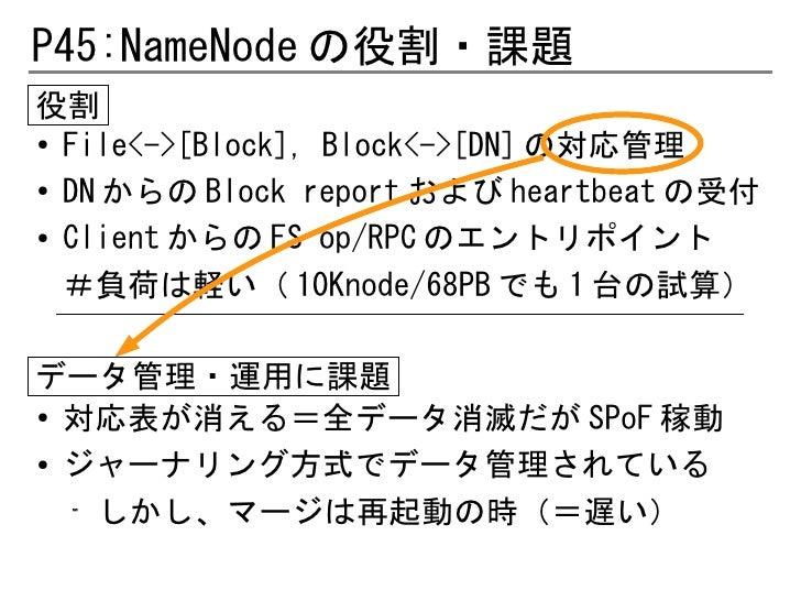 P45:NameNode の役割・課題役割●  File<->[Block], Block<->[DN] の対応管理● DN からの Block report および heartbeat の受付● Client からの FS op/RPC のエ...