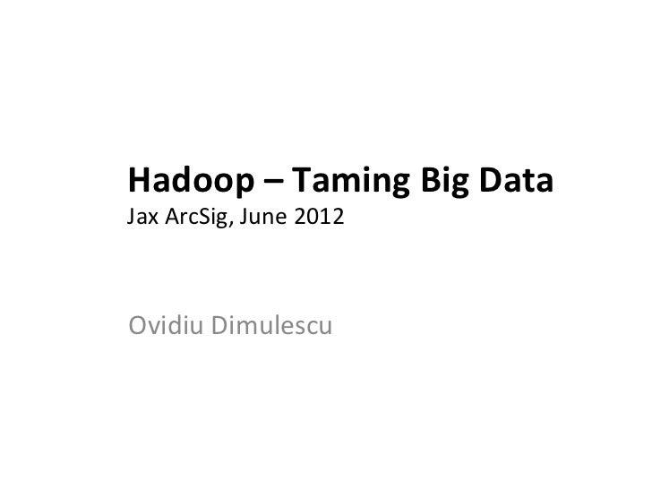 Hadoop – Taming Big Data Jax ArcSig, June 2012 Ovidiu Dimulescu