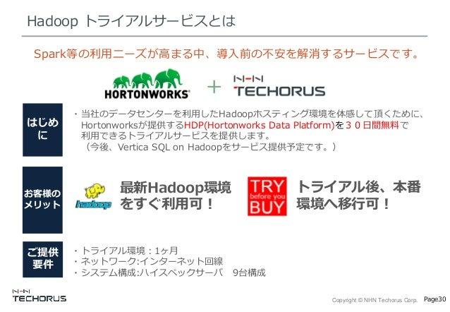 Copyright © NHN Techorus Corp. Page30 Hadoop トライアルサービスとは お客様の メリット ご提供 要件 ・当社のデータセンターを利用したHadoopホスティング環境を体感して頂くために、 Horton...