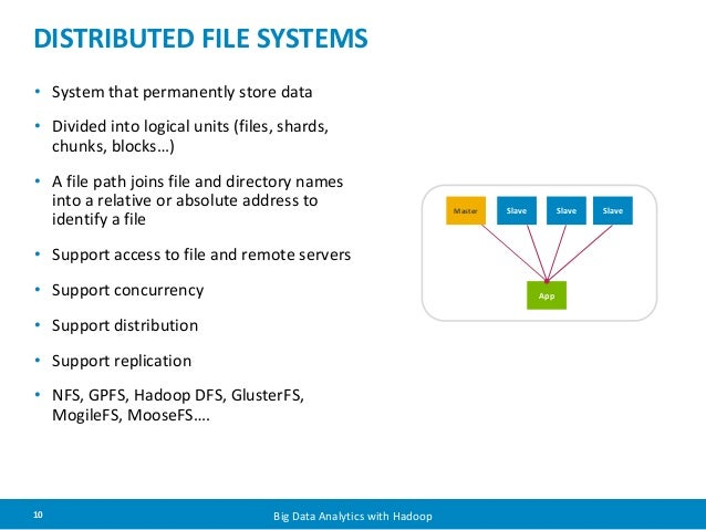 DISTRIBUTED FILE SYSTEMS  • System that permanently store data  • Divided into logical units (files, shards,  chunks, bloc...