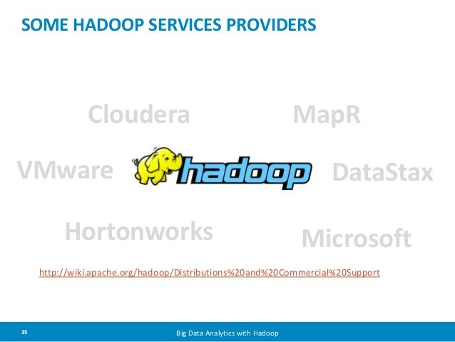SOME HADOOP SERVICES PROVIDERS  Cloudera  Hortonworks  35 Big Data Analytics with Hadoop  MapR  DataStax  Microsoft  VMwar...