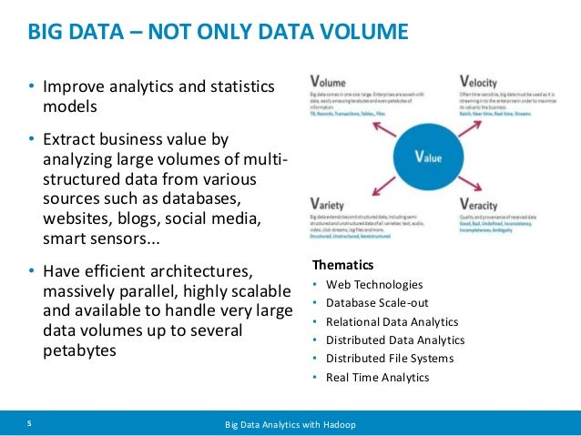 BIG DATA – NOT ONLY DATA VOLUME  • Improve analytics and statistics  models  • Extract business value by  analyzing large ...