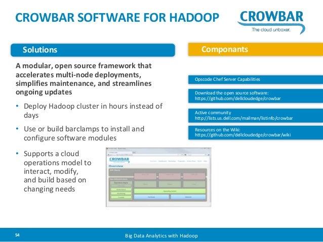 CROWBAR SOFTWARE FOR HADOOP  Solutions Componants  A modular, open source framework that  accelerates multi-node deploymen...
