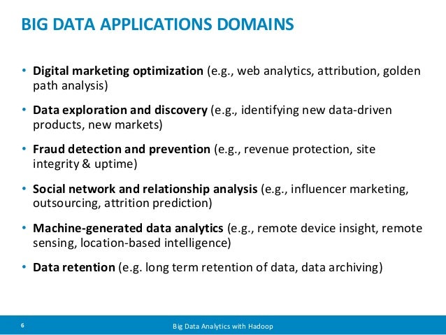 BIG DATA APPLICATIONS DOMAINS  • Digital marketing optimization (e.g., web analytics, attribution, golden  path analysis) ...