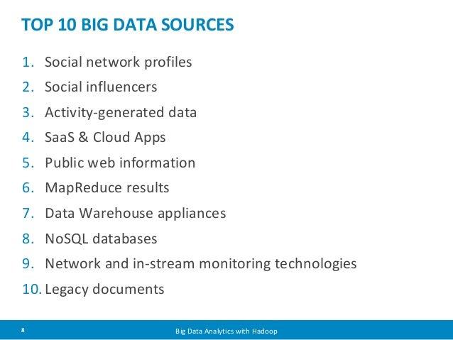 TOP 10 BIG DATA SOURCES  1. Social network profiles  2. Social influencers  3. Activity-generated data  4. SaaS & Cloud Ap...