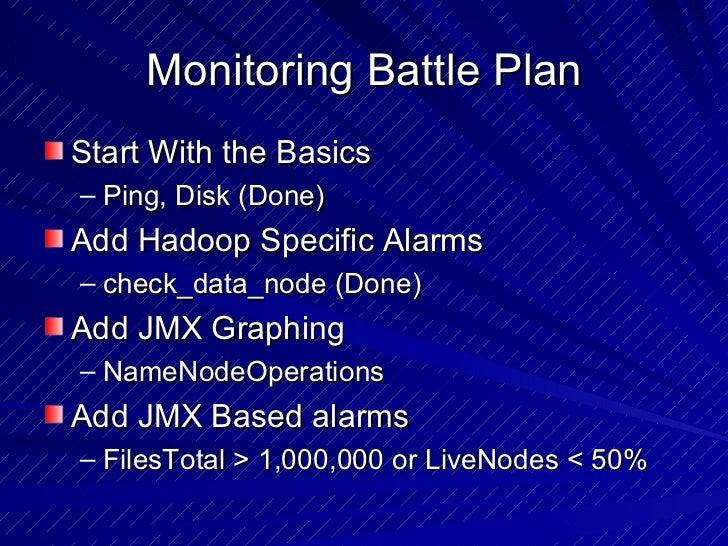 Monitoring Battle Plan <ul><li>Start With the Basics </li></ul><ul><ul><li>Ping, Disk (Done) </li></ul></ul><ul><li>Add Ha...