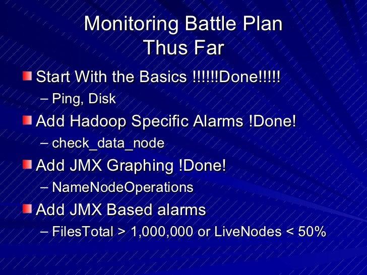 Monitoring Battle Plan Thus Far <ul><li>Start With the Basics !!!!!!Done!!!!! </li></ul><ul><ul><li>Ping, Disk </li></ul><...