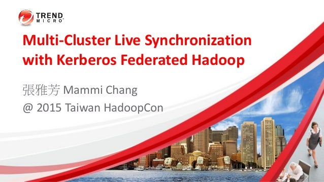 Multi-Cluster Live Synchronization with Kerberos Federated Hadoop 張雅芳 Mammi Chang @ 2015 Taiwan HadoopCon