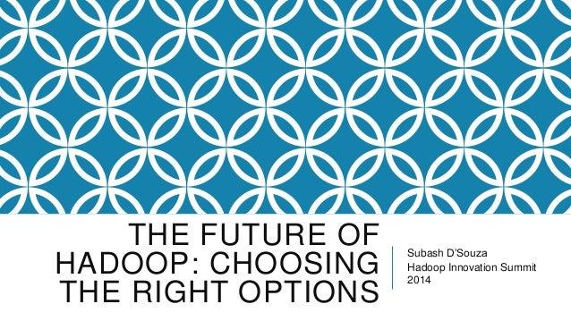 THE FUTURE OF HADOOP: CHOOSING THE RIGHT OPTIONS  Subash D'Souza Hadoop Innovation Summit 2014